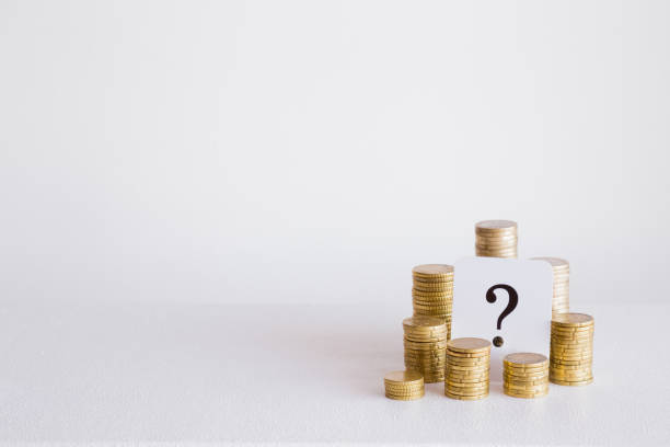 question mark with coins stack on the gray background. money offer concept. mock up for different business ideas. empty place for a text. - spending money stock pictures, royalty-free photos & images