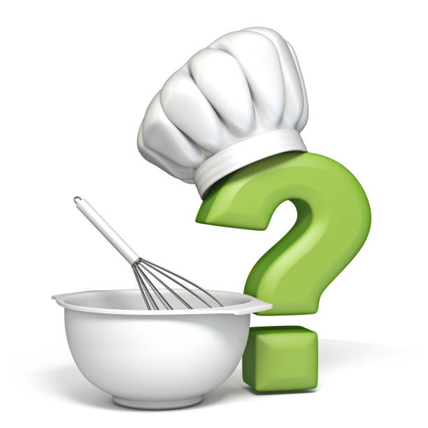Question mark with cooking hat and bowl and egg beater 3D stock photo