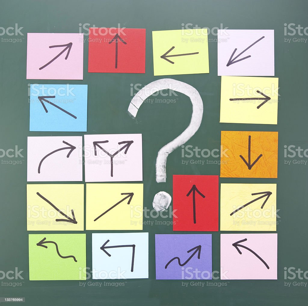 Question mark with different directional post it notes royalty-free stock photo