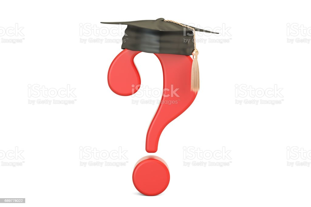 Question mark with graduation cap, 3D rendering stock photo