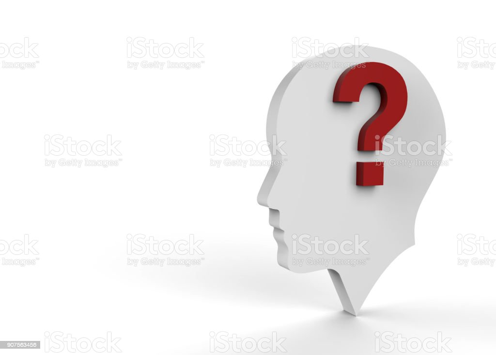 Question mark with human head and brain stock photo
