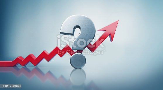 istock Question Mark with Red Arrow Moving Up on Defocused Background 1181763543