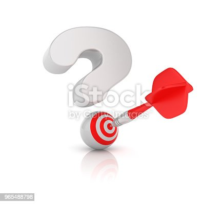istock Question Mark with Target and Dart - 3D Rendering 965488798