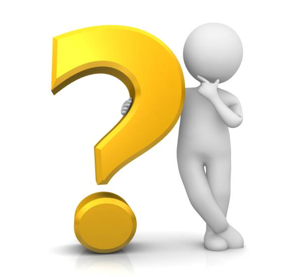 question mark yellow gold 3d interrogation point punctuation mark asking sign query symbol icon with thinking stick man solving problem in relaxed pose isolated on white stock photo