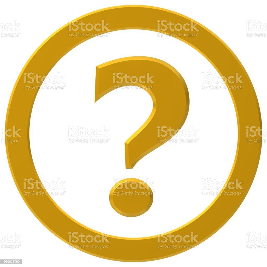 vraagteken geel gouden vragen 3D-symboolinstantie vragen teken symboolpictogram leesteken geïsoleerd op wit foto
