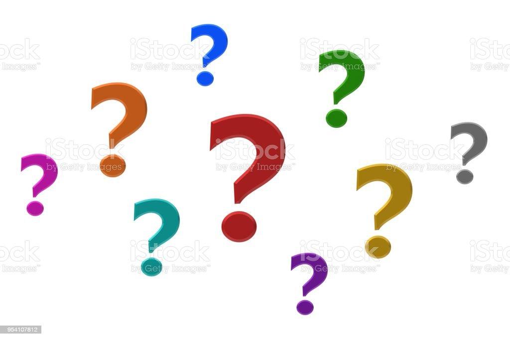 vraagtekens 3d ondervraging punten vragen tekenen gekleurd rood oranje groen blauw oranje geel roze zilver paarse turkoois foto