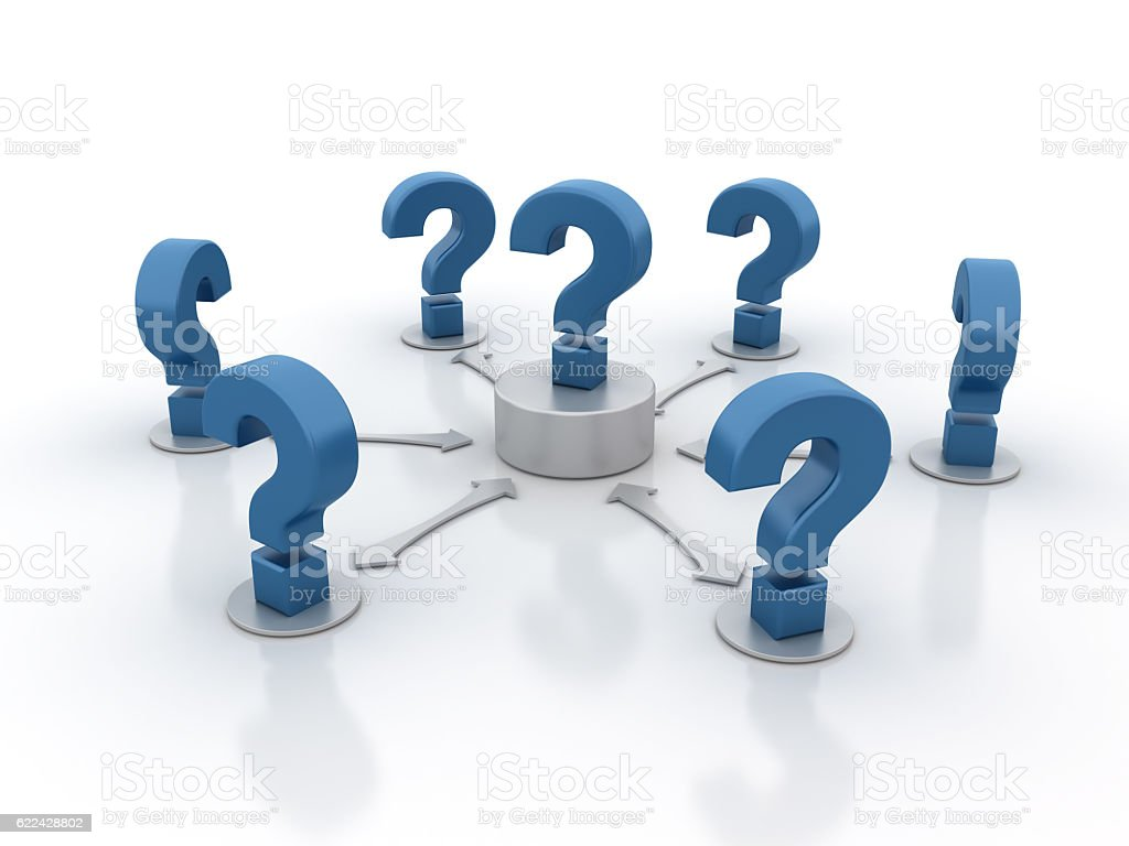 Question Marks  - 3D Rendering stock photo