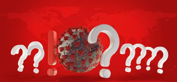 question marks and exclamation mark coronavirus covid-19 symbolic 3d-illustration. elements of this image furnished by nasa - covid testing zdjęcia i obrazy z banku zdjęć
