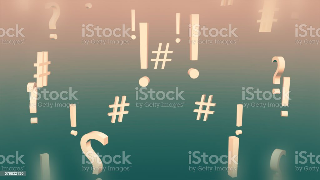 Question Marks, Certainty and Hashtags vector art illustration