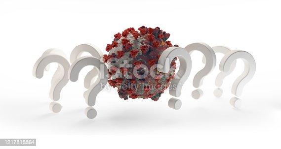question marks Coronavirus Covid-19 symbolic 3d-illustration