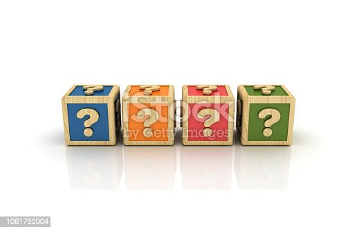 istock Question Marks Cubes - 3D Rendering 1061752004
