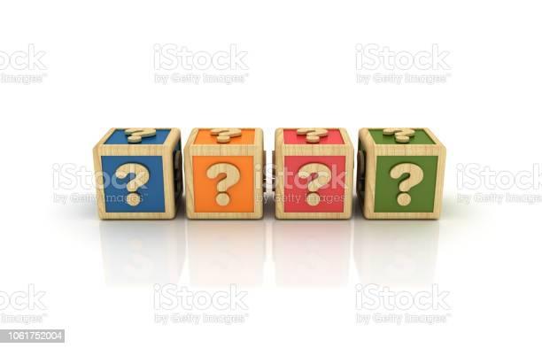 Fragezeichenwürfel 3d Rendering Stockfoto und mehr Bilder von Alphabet