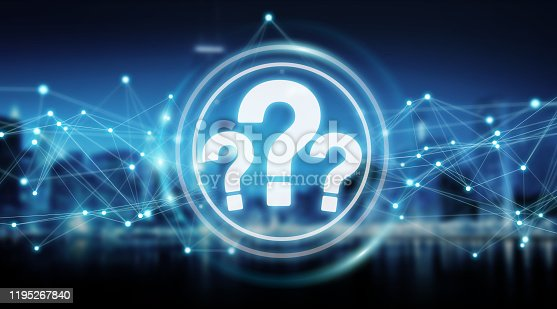 Question marks digital interface isolated on blue background 3D rendering