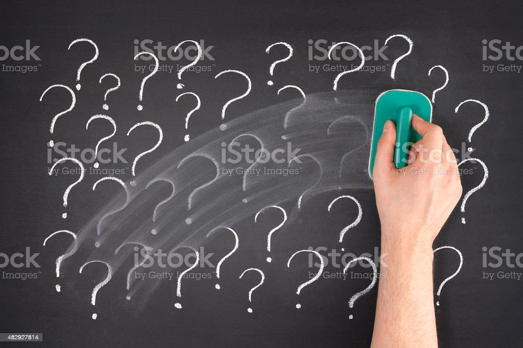 Question Marks on Blackboard stock photo