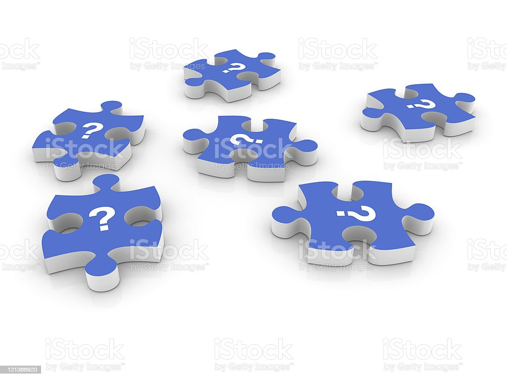 Question Marks on Jigsaw Pieces royalty-free stock photo