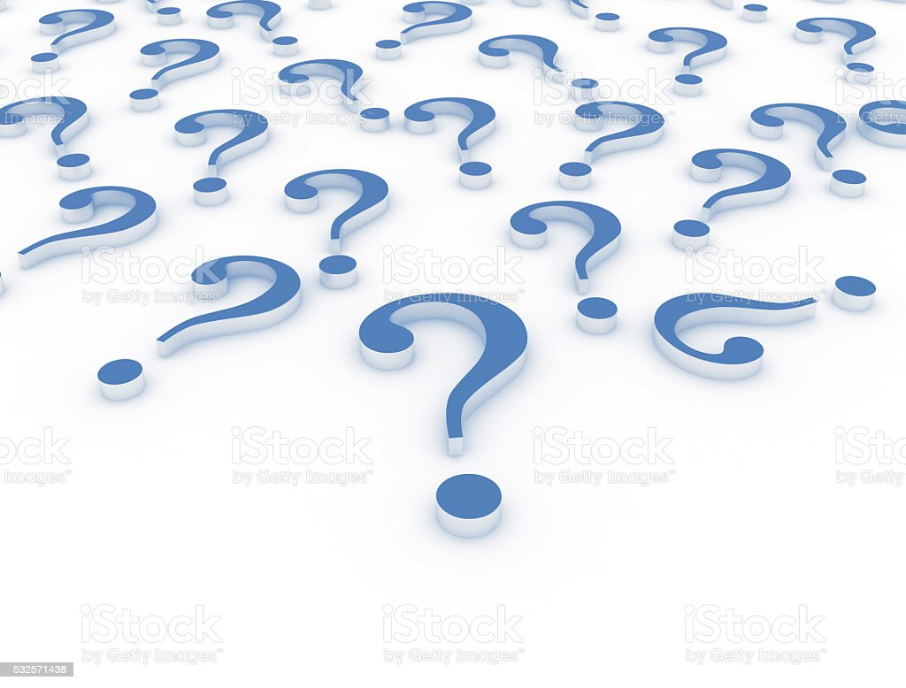3D question marks stock photo