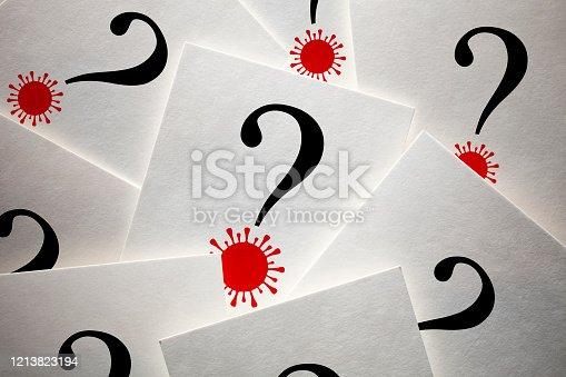 istock Question marks with Coronavirus 1213823194