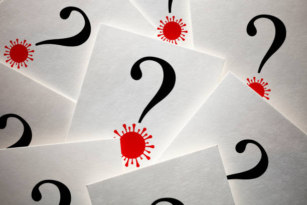 Question marks with Coronavirus stock photo
