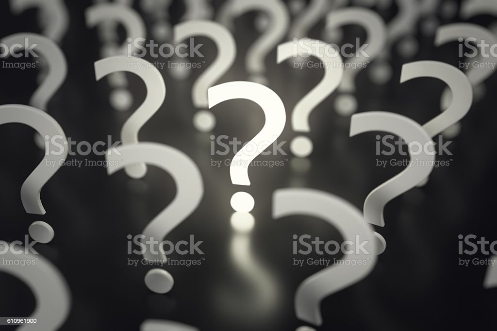 Question marks with depth of field. Concept Idea or problem stock photo
