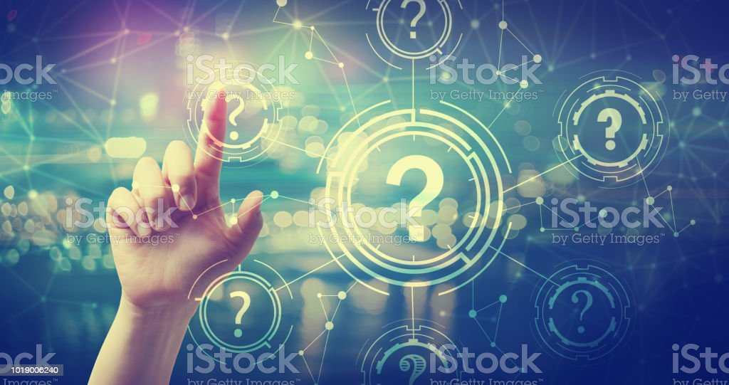Question Marks with hand pressing a button stock photo