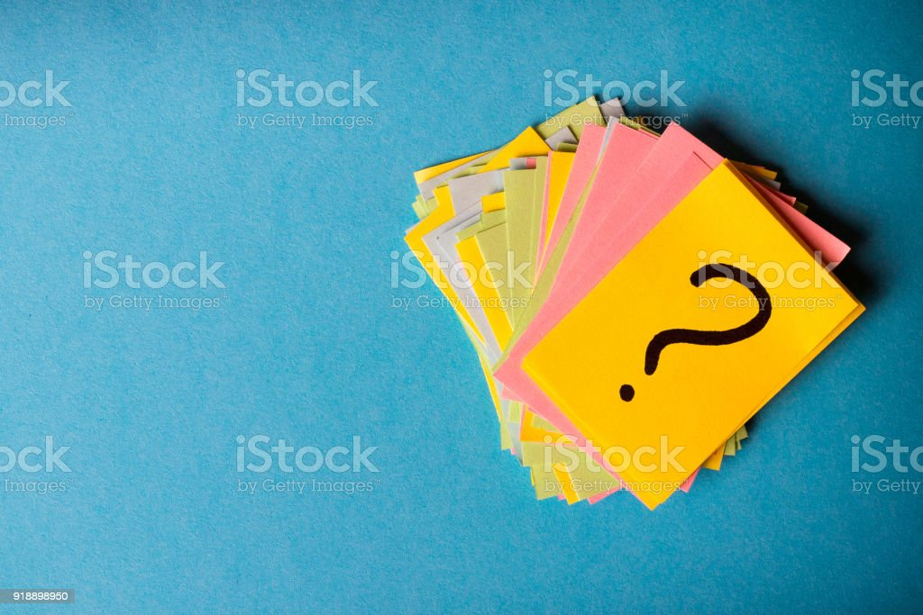 question marks written reminders tickets stock photo