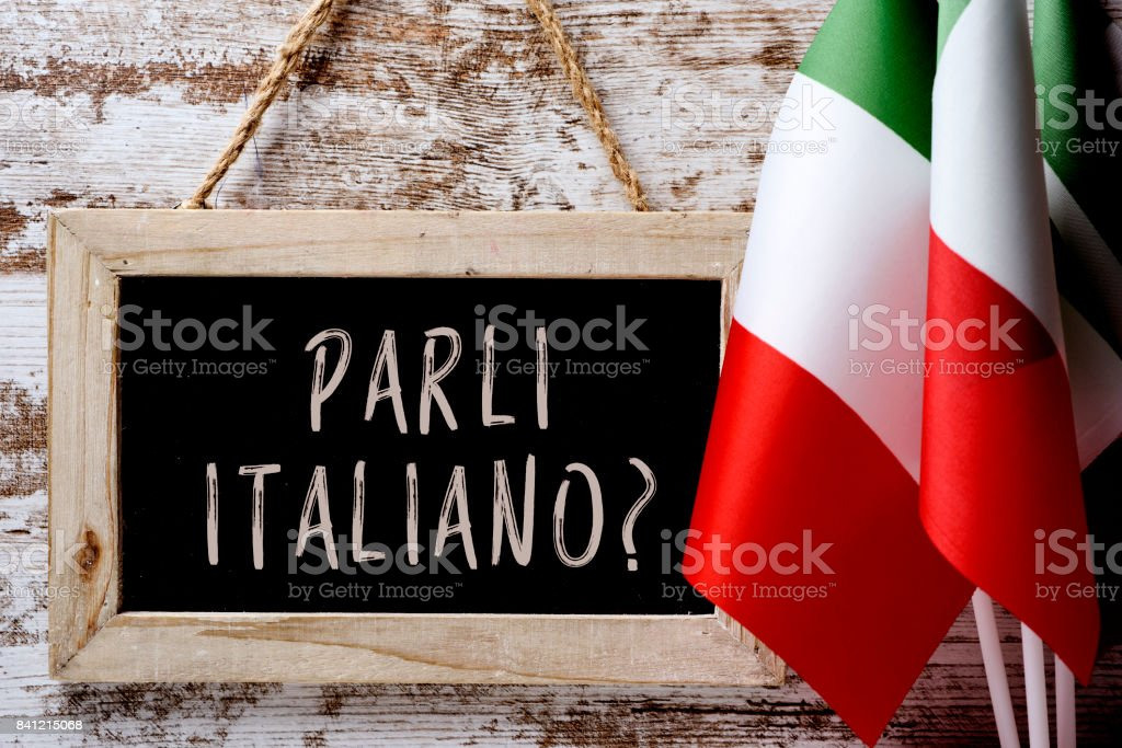 question parli italiano? do you speak Italian? stock photo