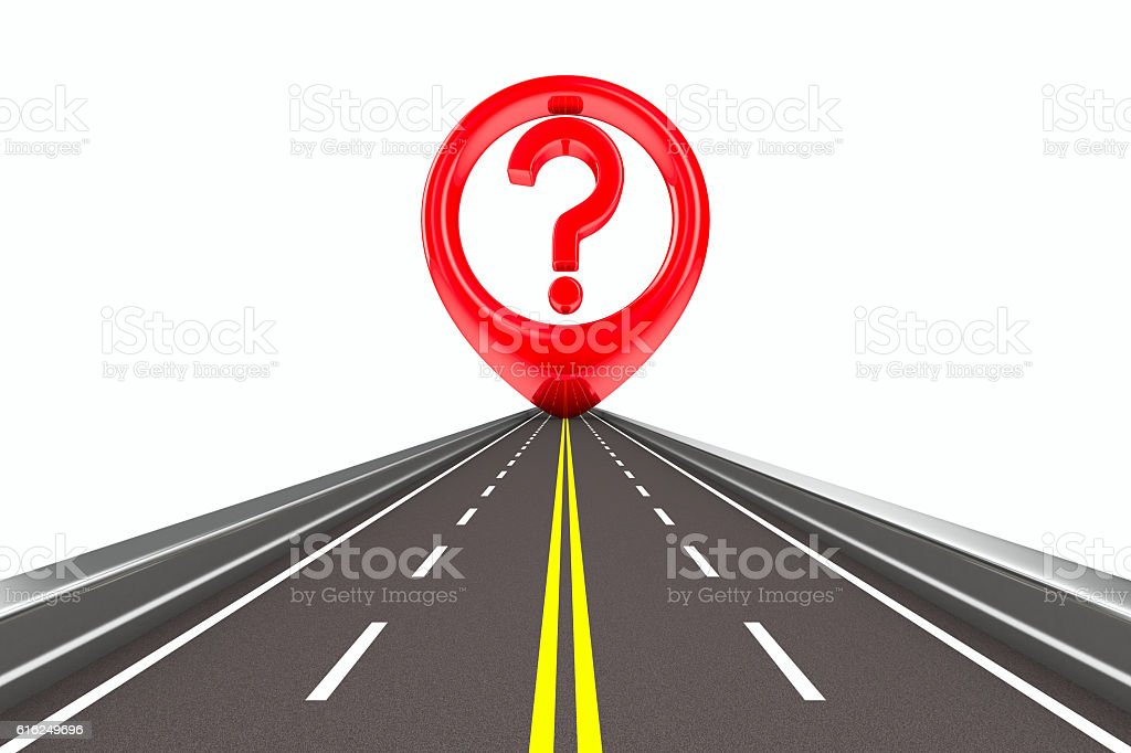 Question sign on road Isolated 3D image stock photo