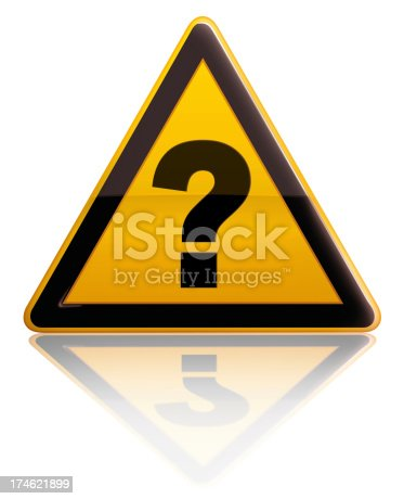 Isolated on white yellow warning sign with a question mark inside. Please see some similar pictures from my portfolio:
