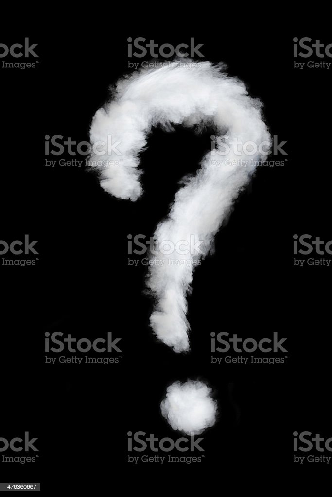 question sign smoke style stock photo