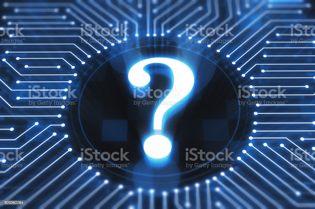 Question symbol on digital display stock photo