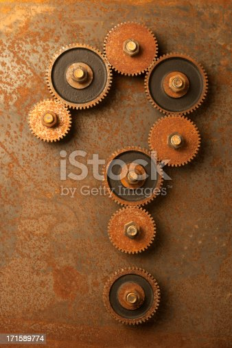 Rusty Gears in the Shape of a Question Mark.