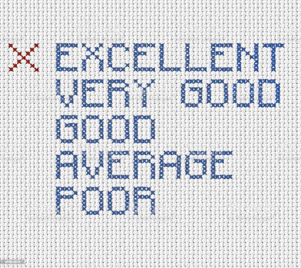 Questionnaire Excellent Embroidery royalty-free stock photo