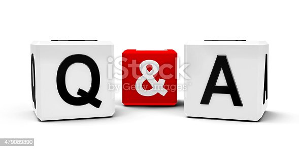 White and red cubes - questions and answers - isolated on white, three-dimensional rendering