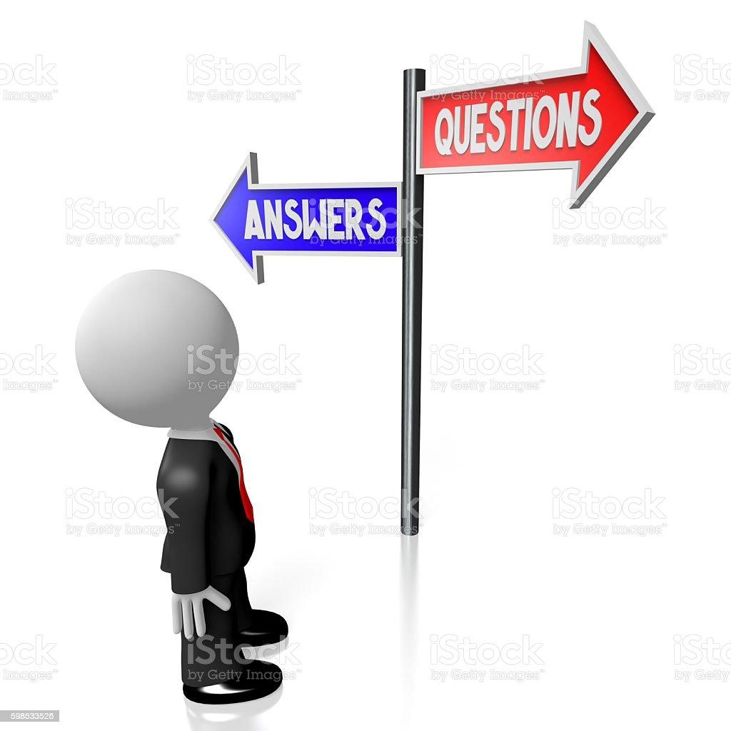 3D questions and answers photo libre de droits