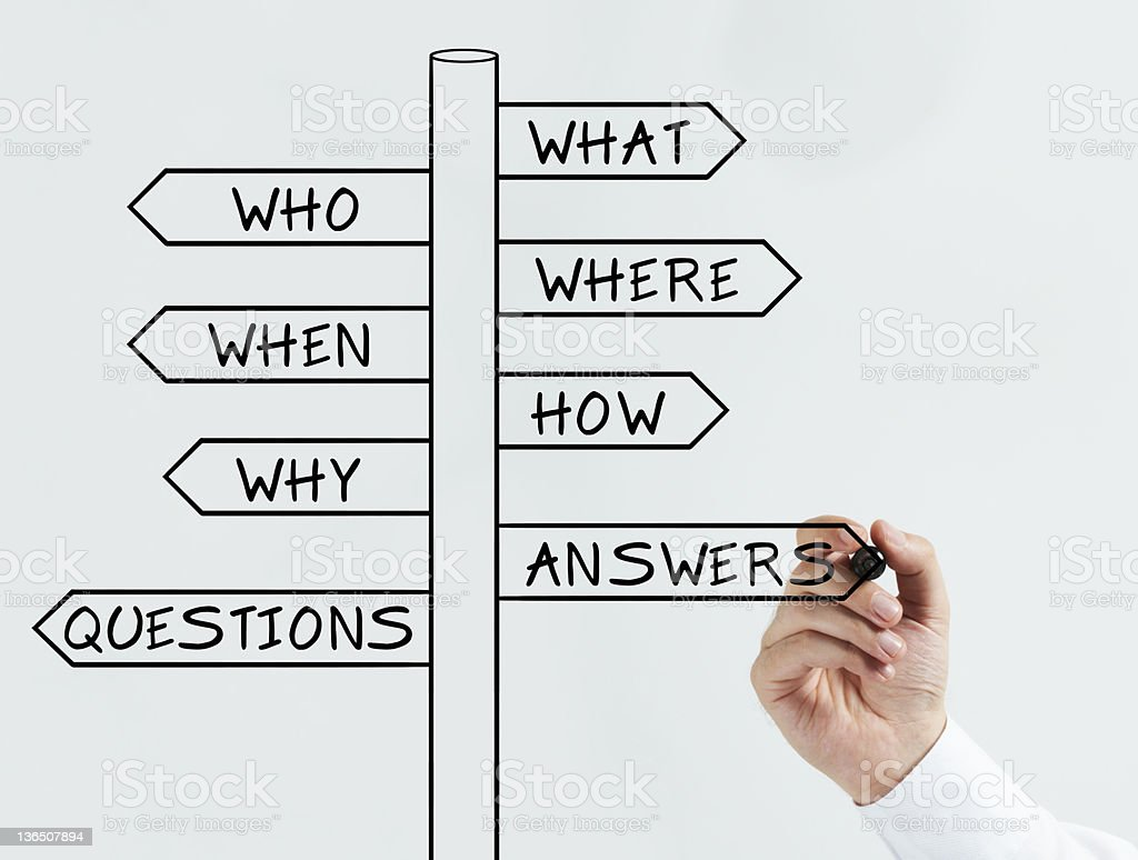 Questions and answers sign stock photo