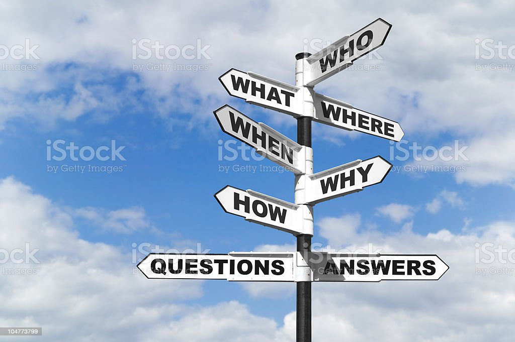 Questions and Answers signpost Concept image of the six most common questions and answers on a signpost. Advice Stock Photo