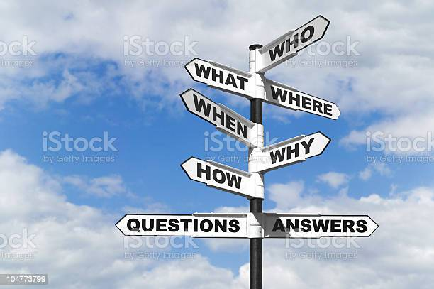 Questions And Answers Signpost Stock Photo - Download Image Now