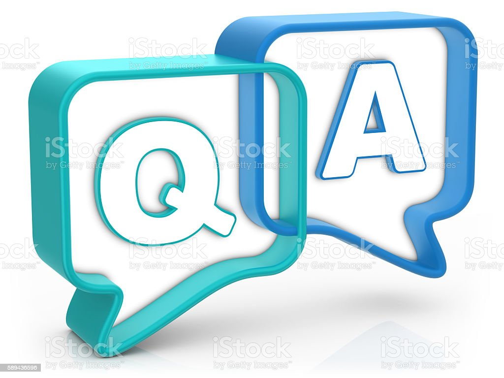 Questions and Answers - Speech Bubble stock photo
