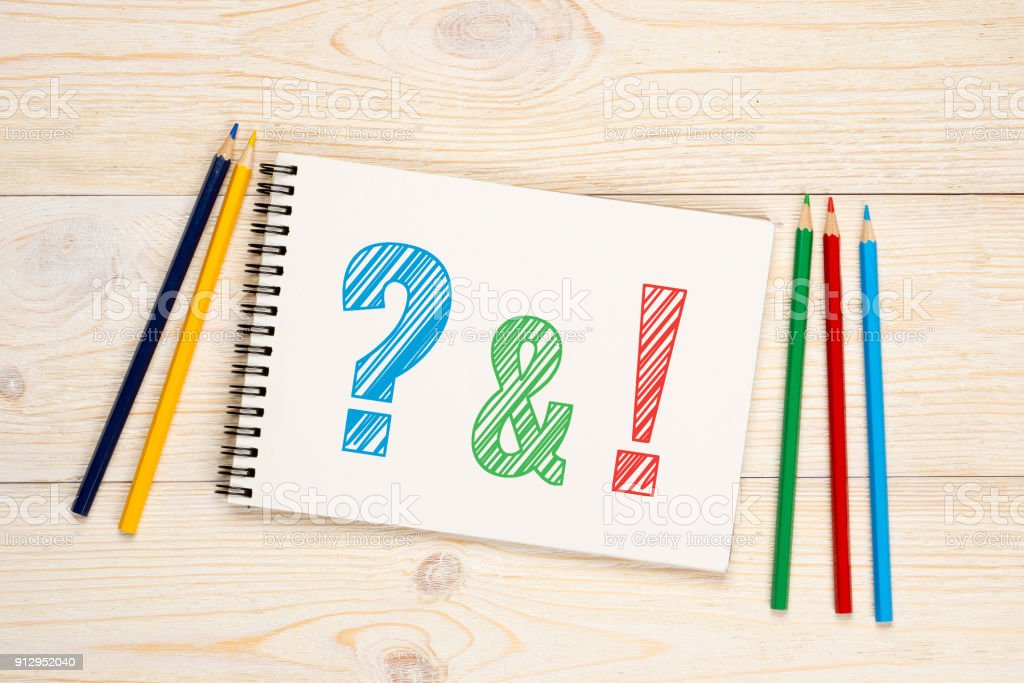 Q&A, questions and answers with colorful pencils concept stock photo