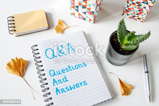 istock Q&A questions and answers written in a notebook 945285444