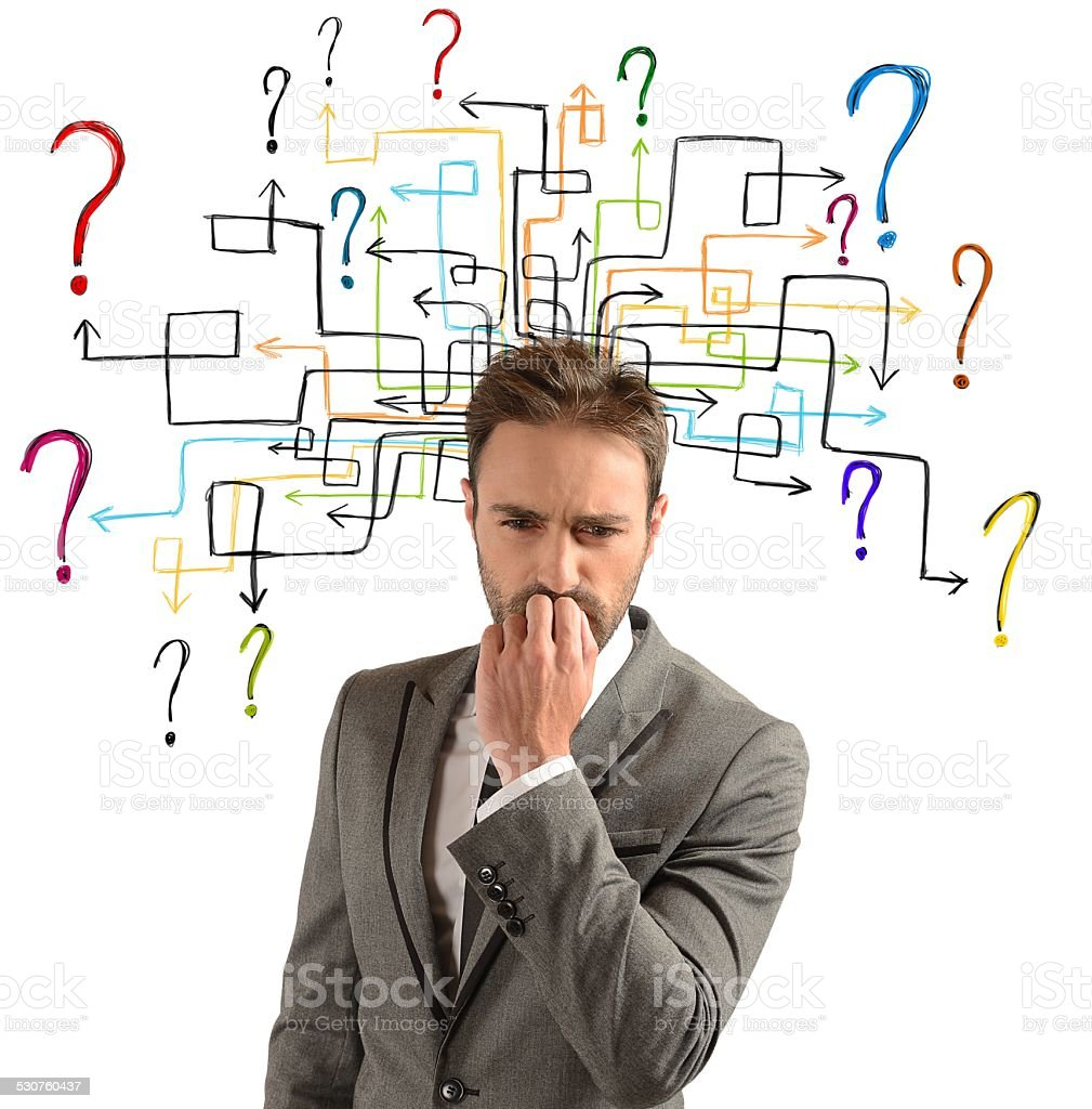 Questions and doubts stock photo