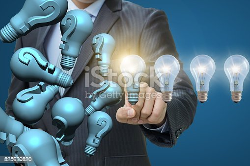 istock Questions and problems solves businessman . 825620820