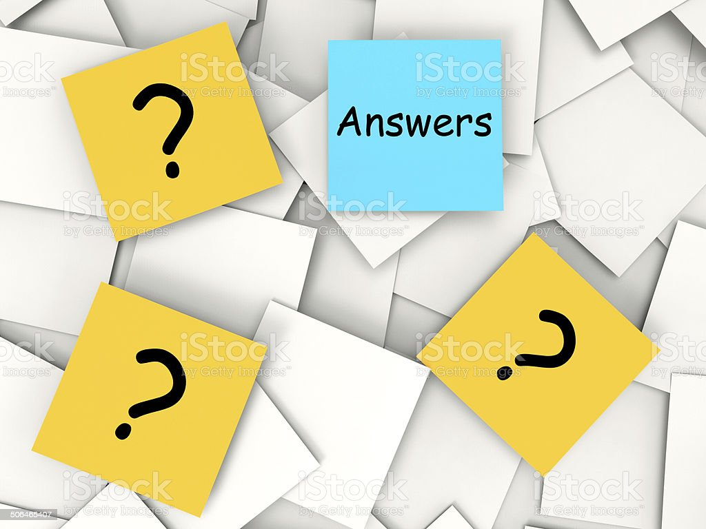 Questions Answers Post-It Notes Mean Inquiries And Solutions stock photo