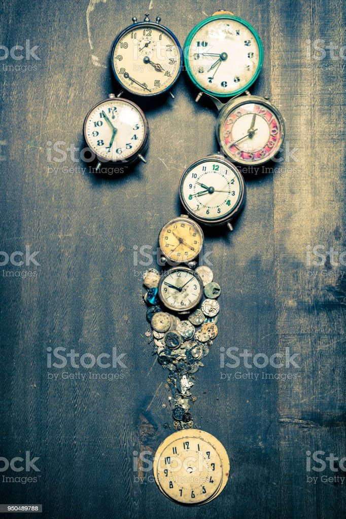 Questions Mark Made Of Old Clocks And Spare Parts Stock