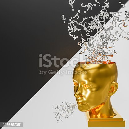Question marks falling into the mind of a Golden gender and race neutral person as more questions emanate from their mouth. A 3d render on a black and white diagonal backgr