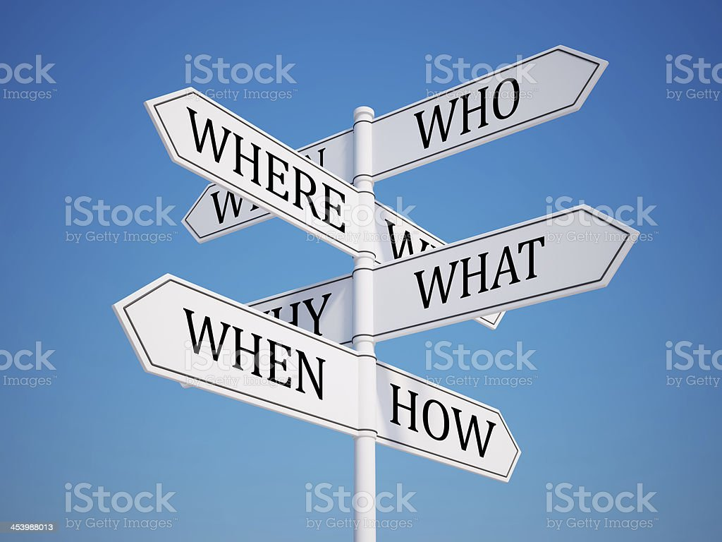 Questions Signpost with Clipping Path royalty-free stock photo