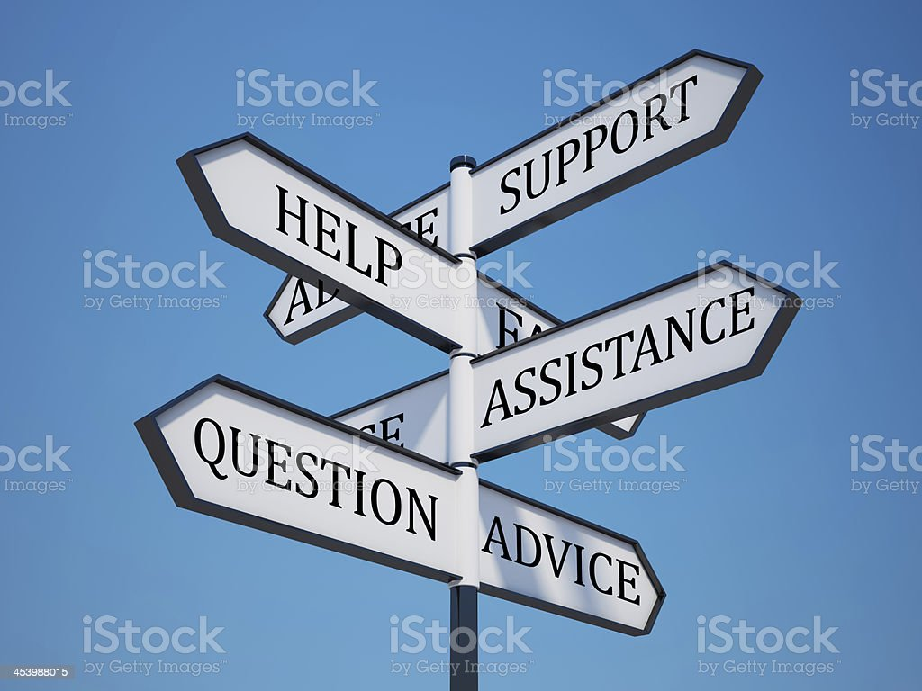 Questions Signpost with Clipping Path stock photo