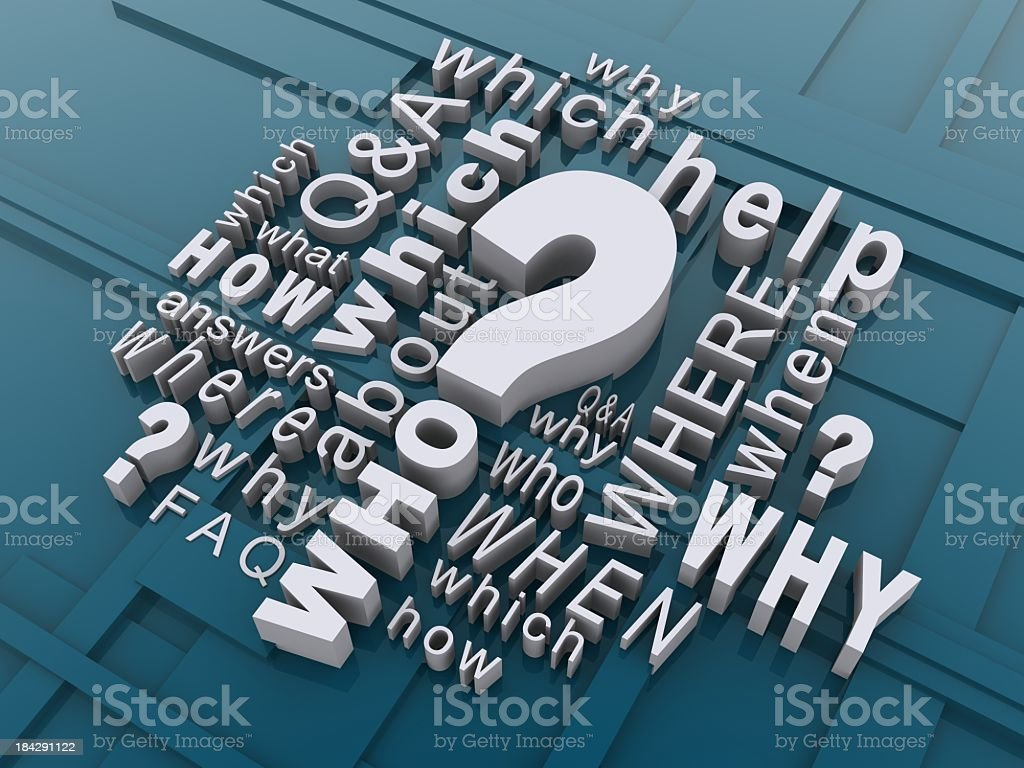 Questions written in white on a blue background royalty-free stock photo