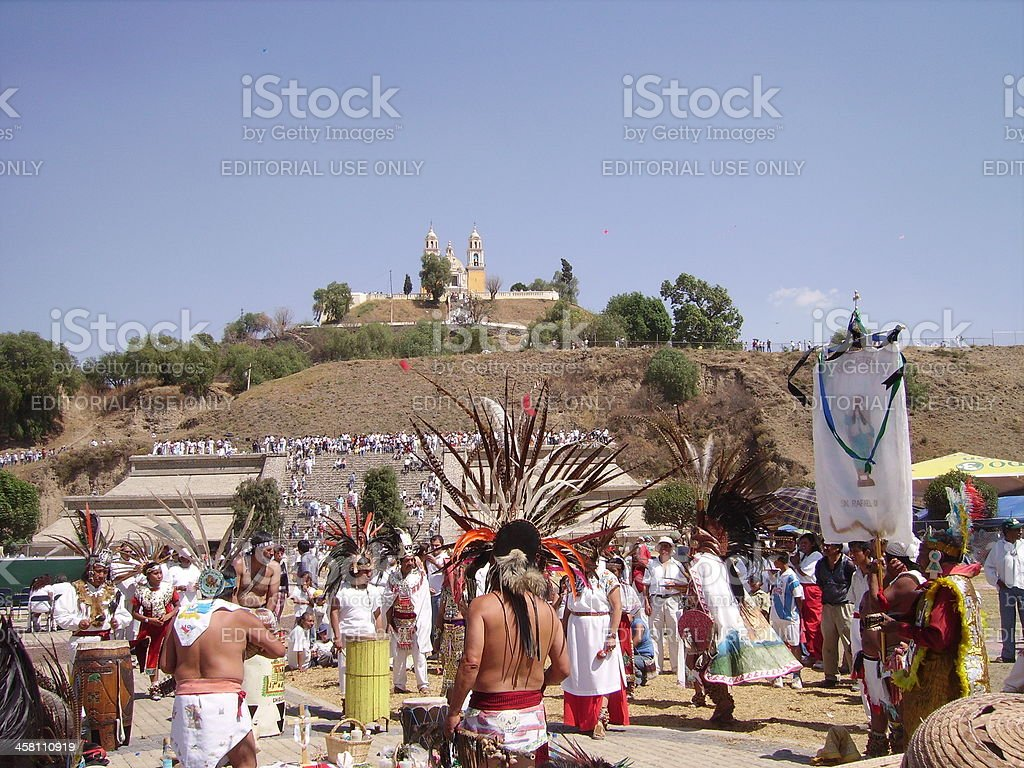 Quetzalcoatl ritual, Cholula - Puebla, Mexico stock photo