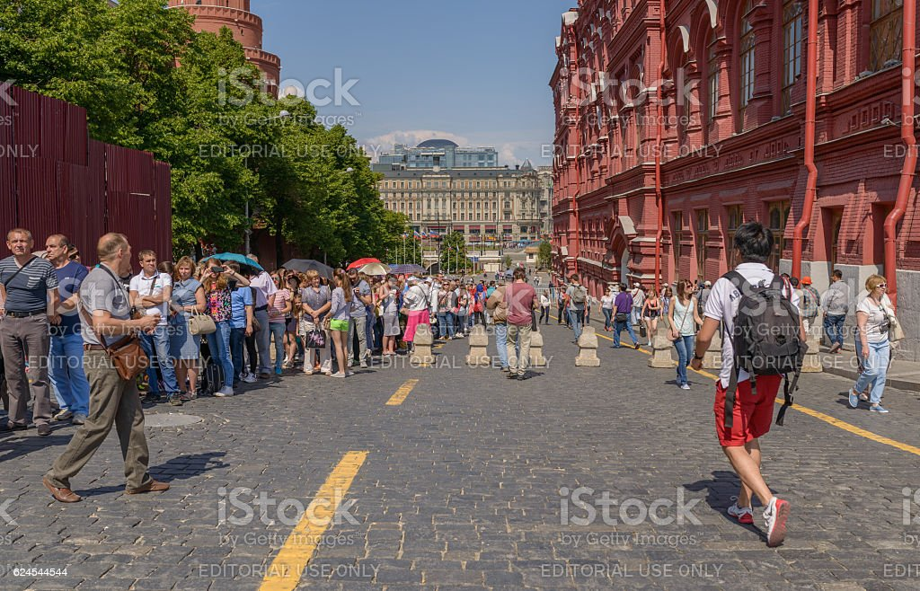 Queue in Lenin's Mausoleum. stock photo